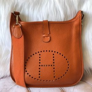 5bc97132321e HERMES Evelyne II GM Clemence Orange Crossbody Bag